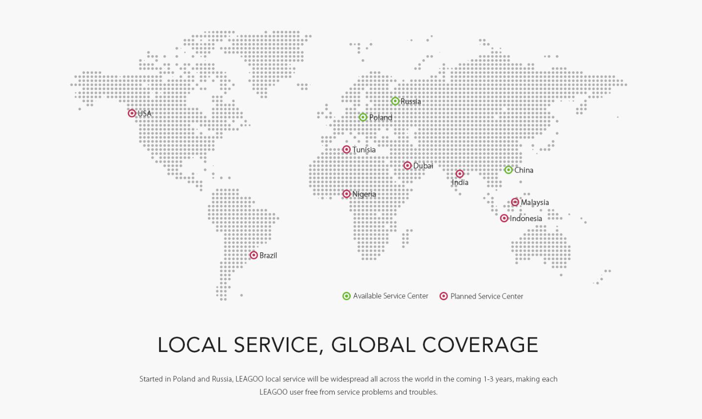 В России и Европе заработали сервисные центры Leagoo