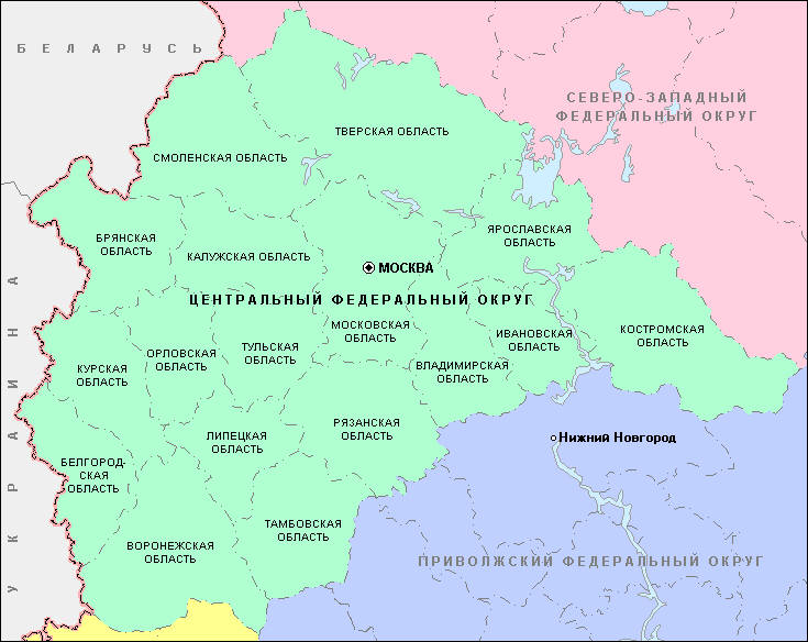 Карта центрального Федерального округа у вас под боком