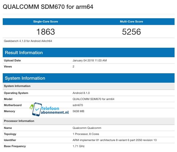 Snapdragon 670 впервые протестирован в Geekbench