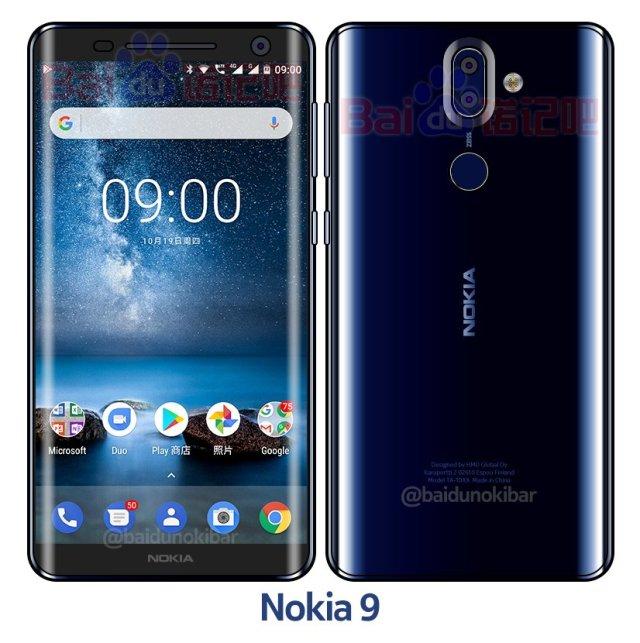 Nokia 9 с изогнутым дисплеем показали на фото