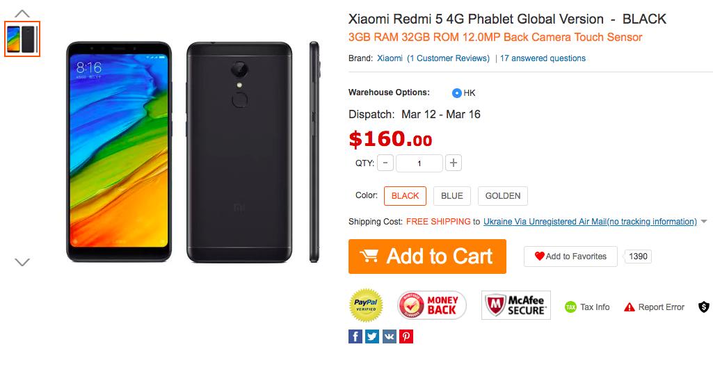 Купи Xiaomi Redmi 5 по скидке за $145,6