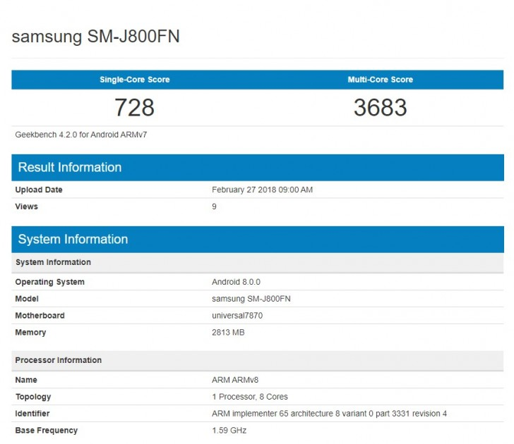 Samsung Galaxy J8 (2018) замечен в Geekbench