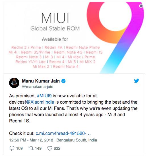 Стабильная сборка MIUI 9 приходит на все совместимые устройства