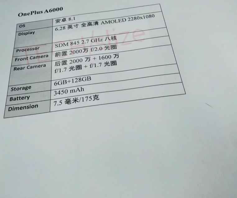 Засветили характеристики OnePlus 6