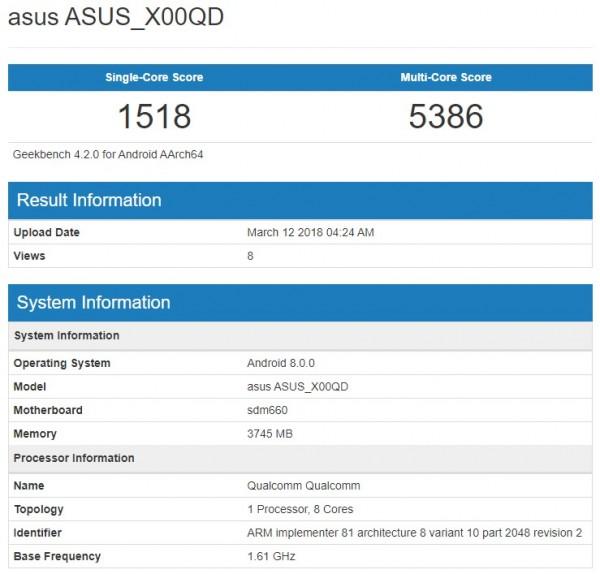 ASUS ZenFone 5 Max на базе Snapdragon 660 замечен в бенчмарке