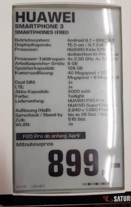 Появились характеристики Huawei P20 Pro