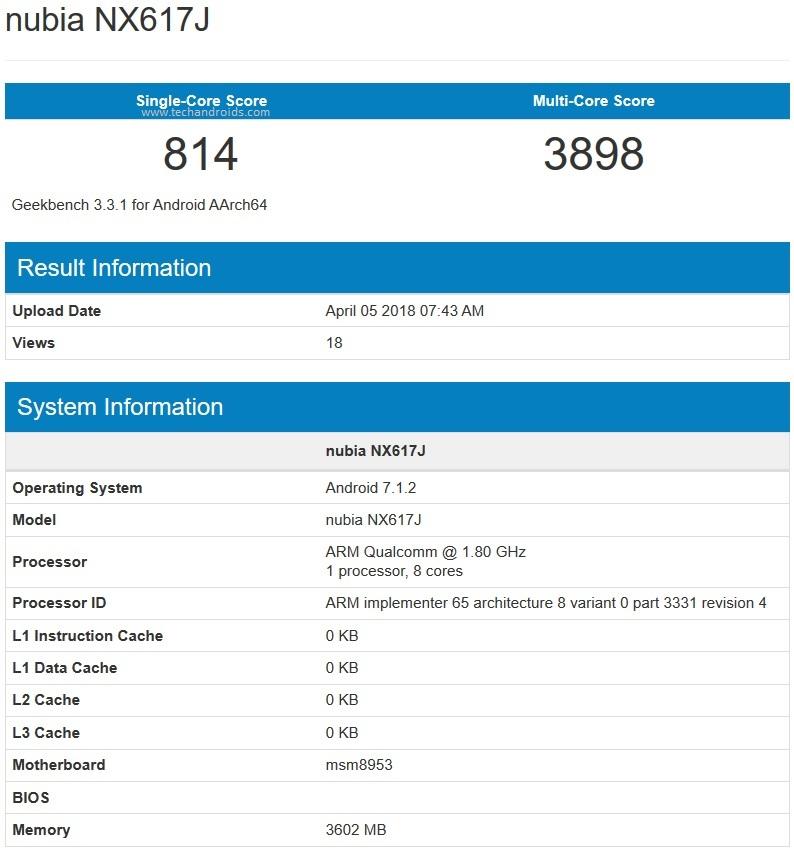 Nubia NX617J с аккумулятором на 4870 мАч и двойной камерой сертифицирован в Китае