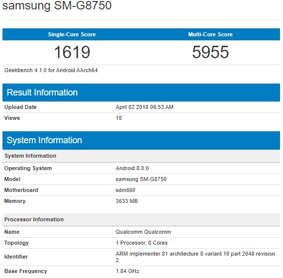 Предполагаемый Samsung Galaxy S9 mini замечен в бенчмарке
