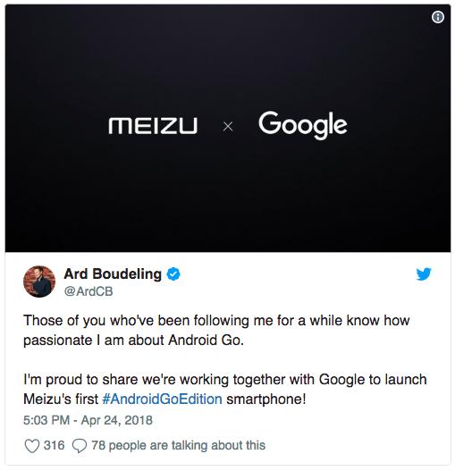 Meizu готовит первый смартфон с Android Oreo Go Edition