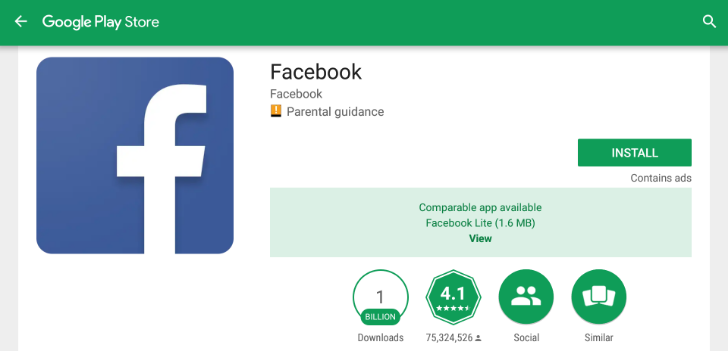 Google Play рекомендует пользоваться Lite-версиями приложений