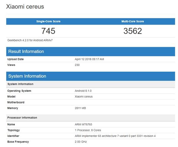 Xiaomi Cereus на базе чипа MediaTek замечен в Geekbench