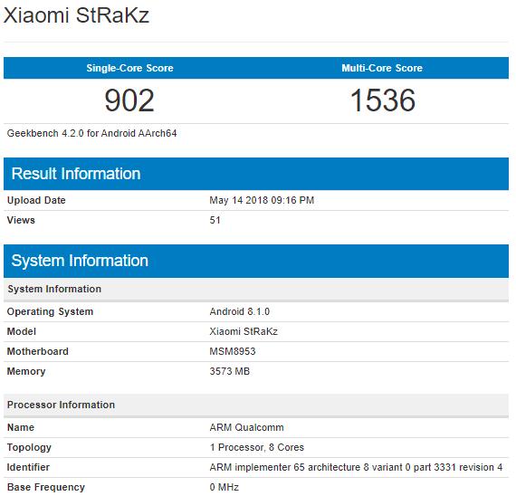 Xiaomi StRaKz с «тоскливым» процессором замечен в Geekbench