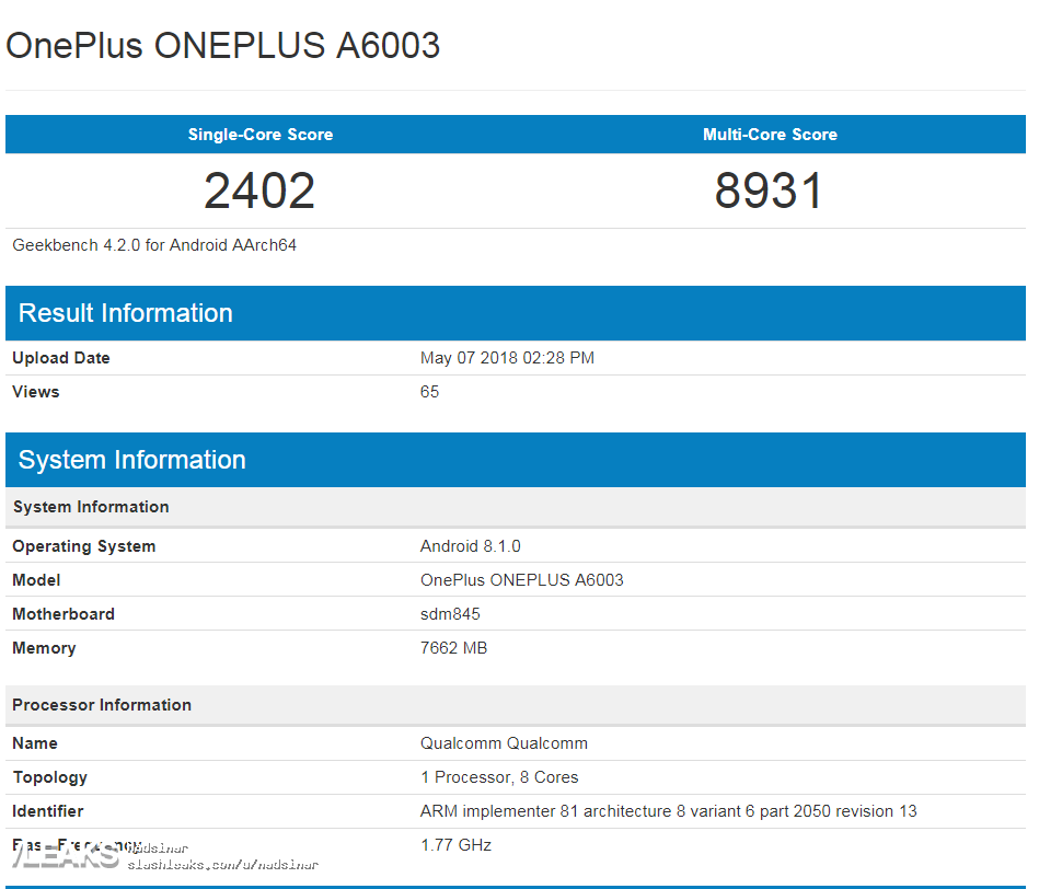 OnePlus 6 показал свою мощь в Geekbench