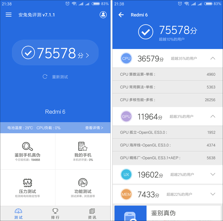 Итоги прогонки Xiaomi Redmi 6 в AnTuTu
