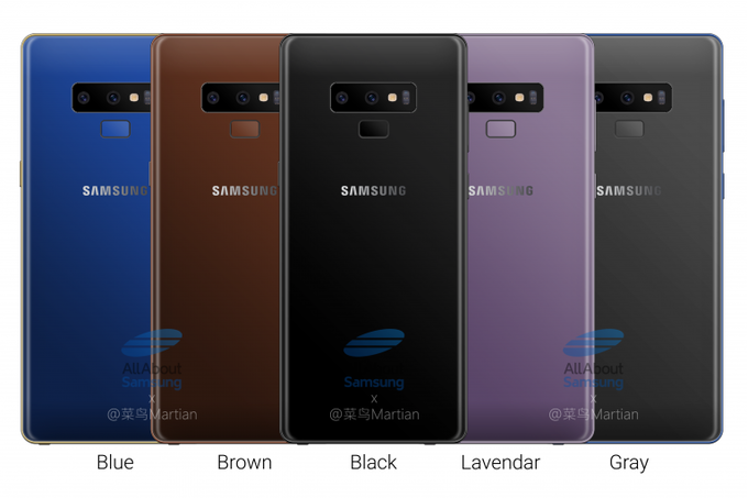 Samsung Galaxy Note 9 появится в 5 цветах