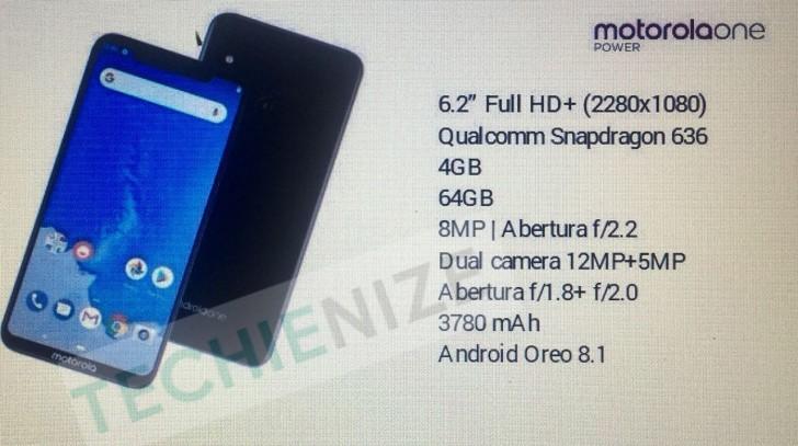 Утечка: характеристики Motorola One Power