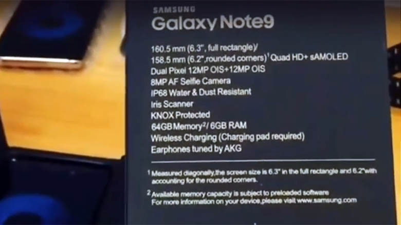 Samsung Galaxy Note 9 уже успели распаковать