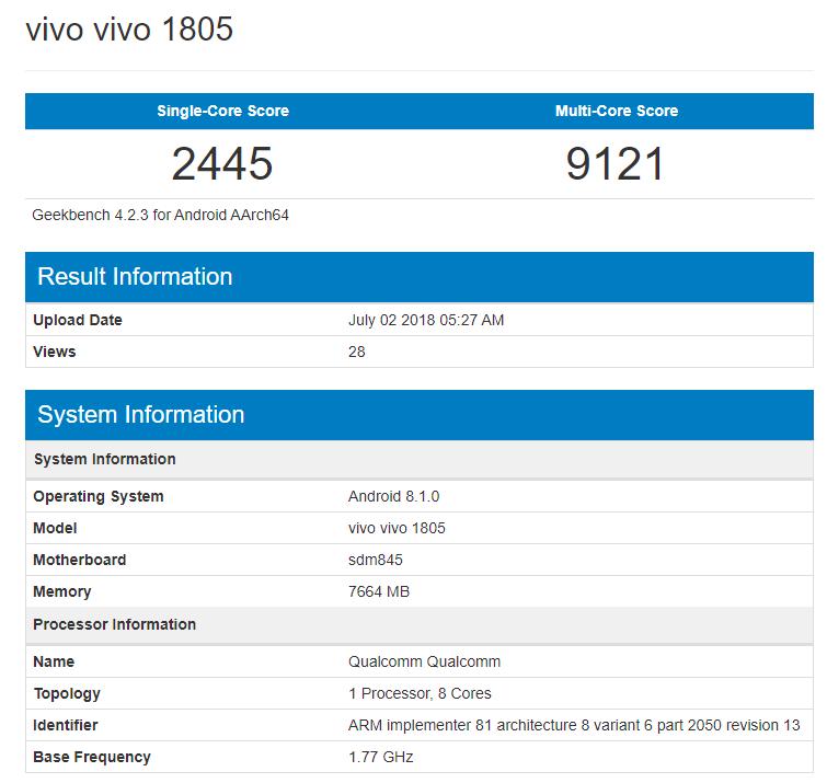 Vivo готовит еще флагман с Snapdragon 845
