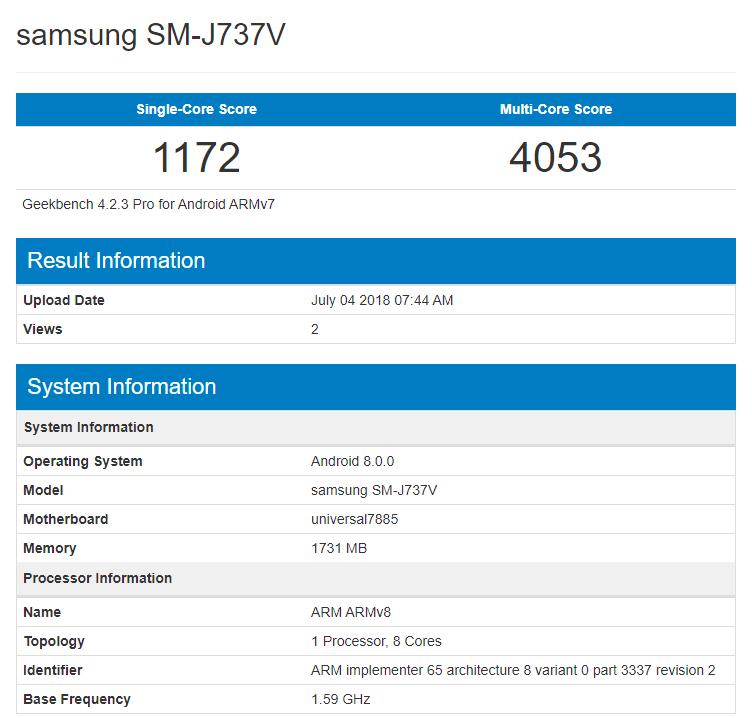 Samsung Galaxy J7 Aero протестирован в Geekbench
