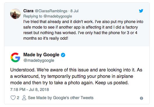 Владельцы Google Pixel 2 и Pixel 2 XL вновь столкнулись с проблемой