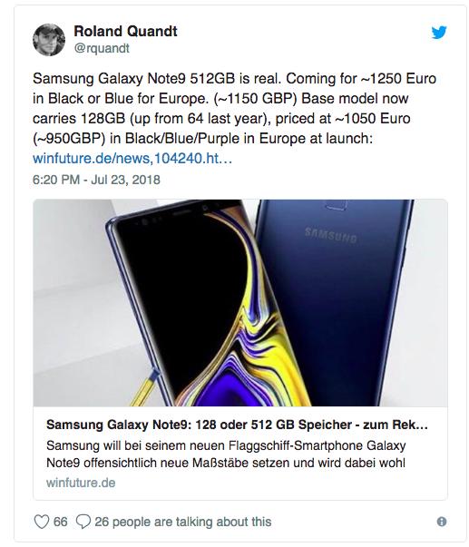 С ценниками на Samsung Galaxy Note 9 в Европе компания готовится поставить антирекорд
