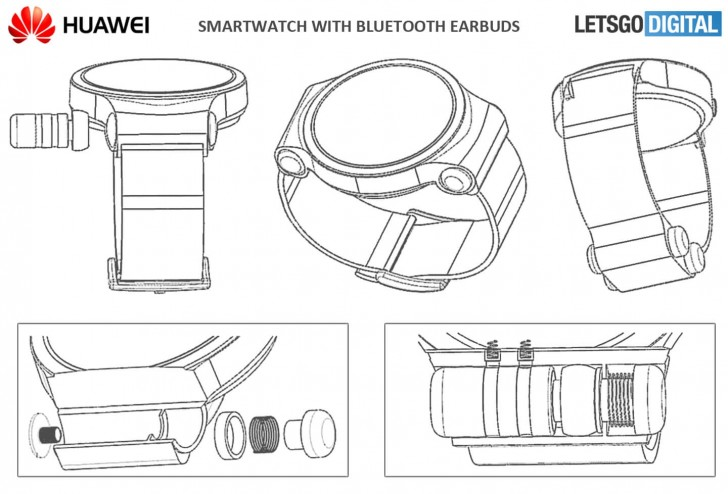 Huawei патентует умные часы со съемной беспроводной гарнитурой
