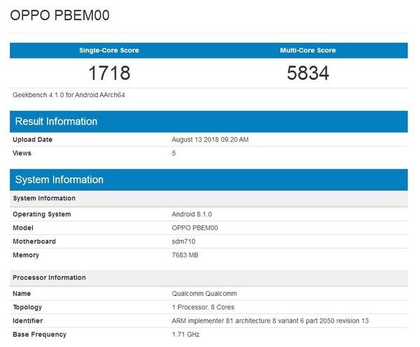 Oppo R17 Pro замечен в Geekbench и озвучили подробности о камере
