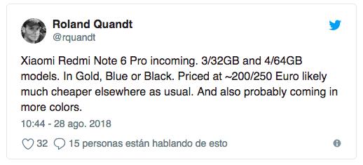 Xiaomi Redmi Note 6 Pro может дебютировать достаточно скоро
