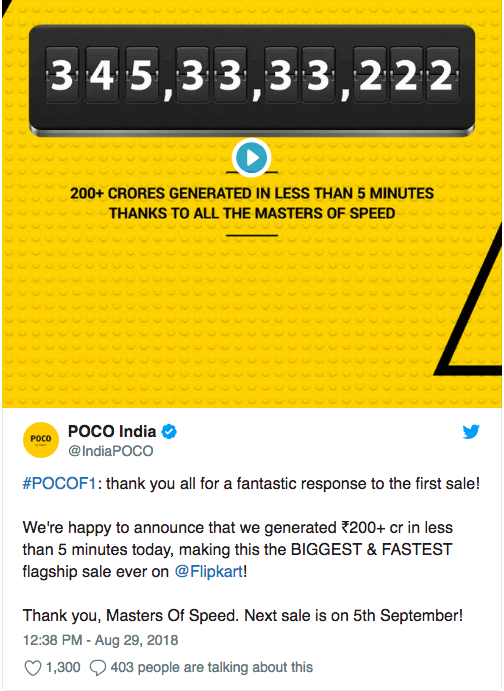 Первая продажа Xiaomi Poco F1 (Pocophone F1) стала рекордной