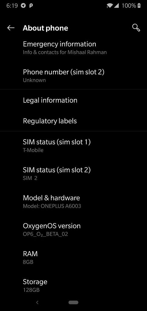 Для OnePlus 6 вышла OxygenOS Open Beta 2