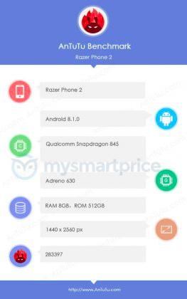 AnTuTu подтверждает у Razer Phone 2 чип Snapdragon 845 и заявлено 512 Гб флеш-памяти