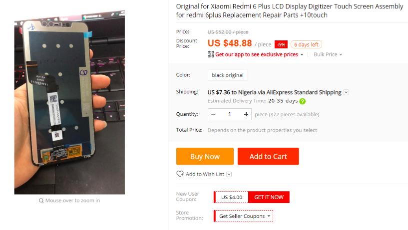 Для еще не представленных Xiaomi Redmi Note 6 и Redmi 6 Plus уже можно прикупить дисплейные модули